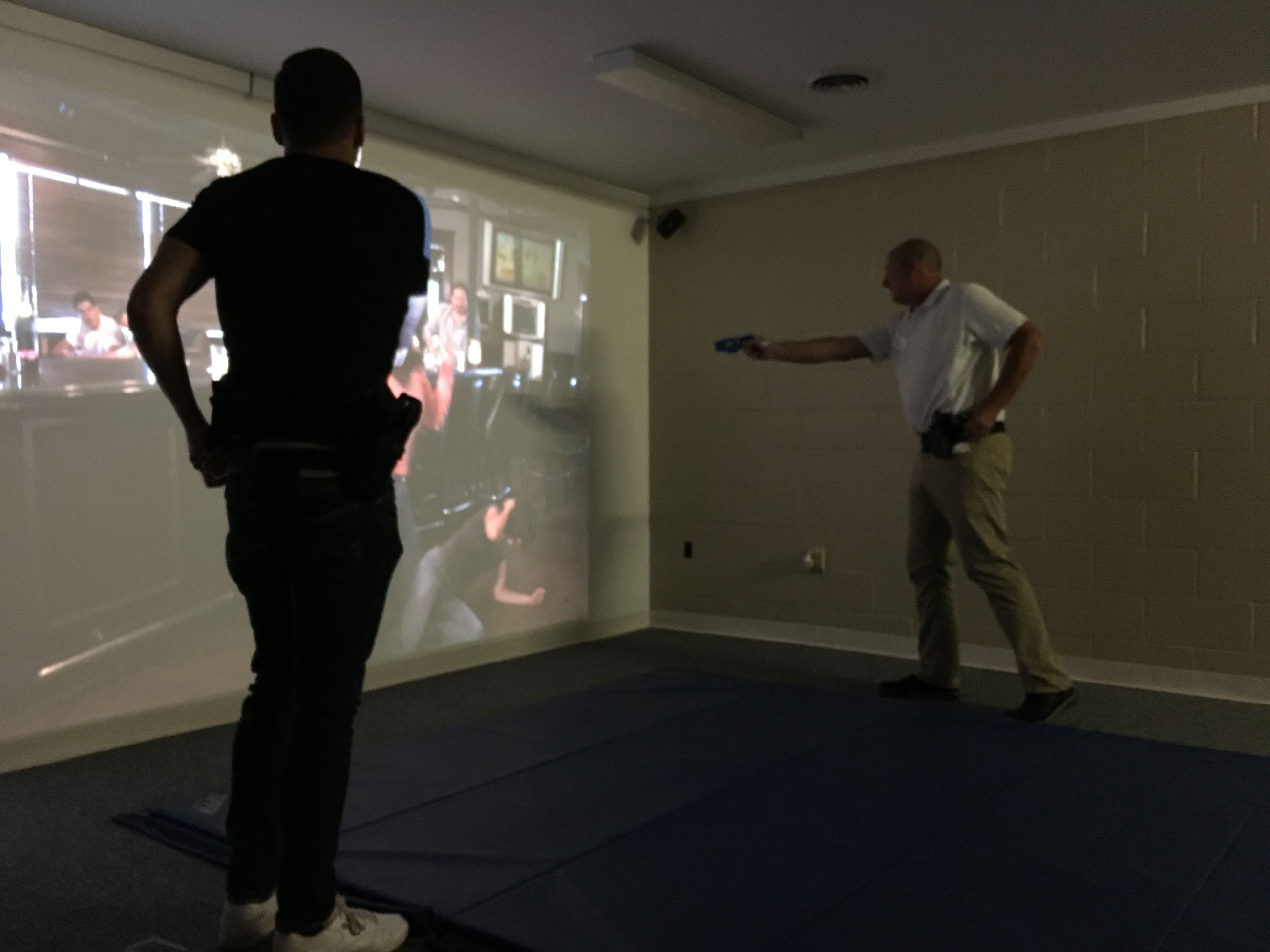 Participants experience the Police Training Simulator