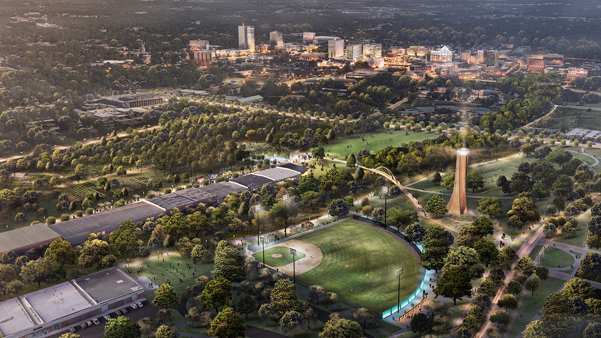 Unity Park rendering of bird's eye aerial view