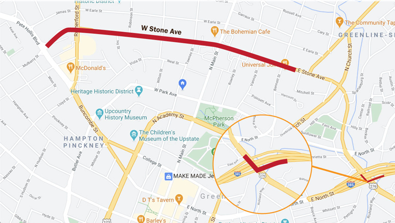 Map showing location of Stone Avenue street resurfacing projects