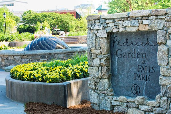 Entrance sign to Pedrick's Garden