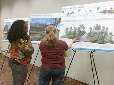 Residents reviewed the proposed park plan during an open house held in October.