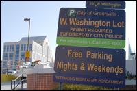 West Washington lot permit required - free parking nights and weekends - sign